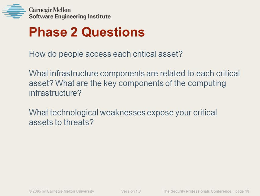 © 2005 by Carnegie Mellon University Version 1.0 The Security Professionals Conference.