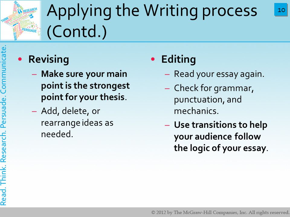 10 Applying the Writing process (Contd.) Revising –Make sure your main point is the strongest point for your thesis.