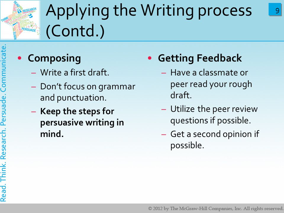 9 9 Applying the Writing process (Contd.) Composing –Write a first draft.