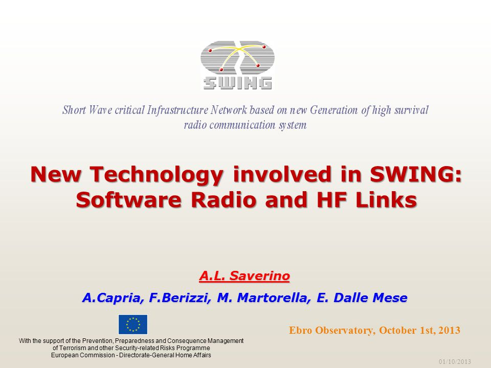 01/10/2013 Ebro Observatory, October 1st, 2013 New Technology involved in SWING: Software Radio and HF Links A.L.