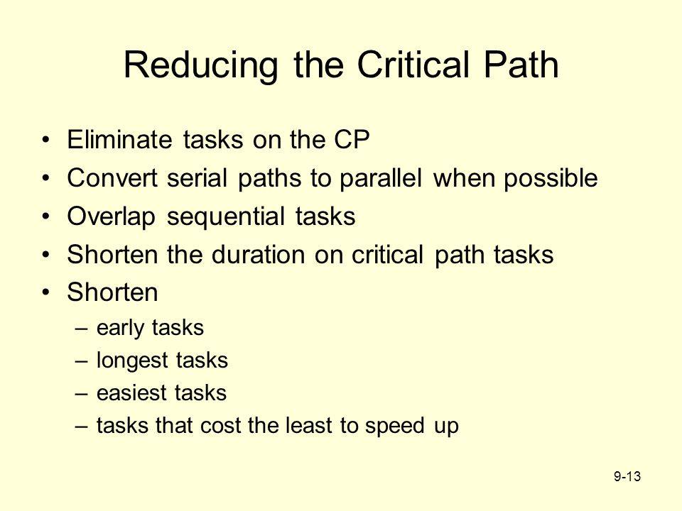 9-13 Reducing the Critical Path Eliminate tasks on the CP Convert serial paths to parallel when possible Overlap sequential tasks Shorten the duration on critical path tasks Shorten –early tasks –longest tasks –easiest tasks –tasks that cost the least to speed up