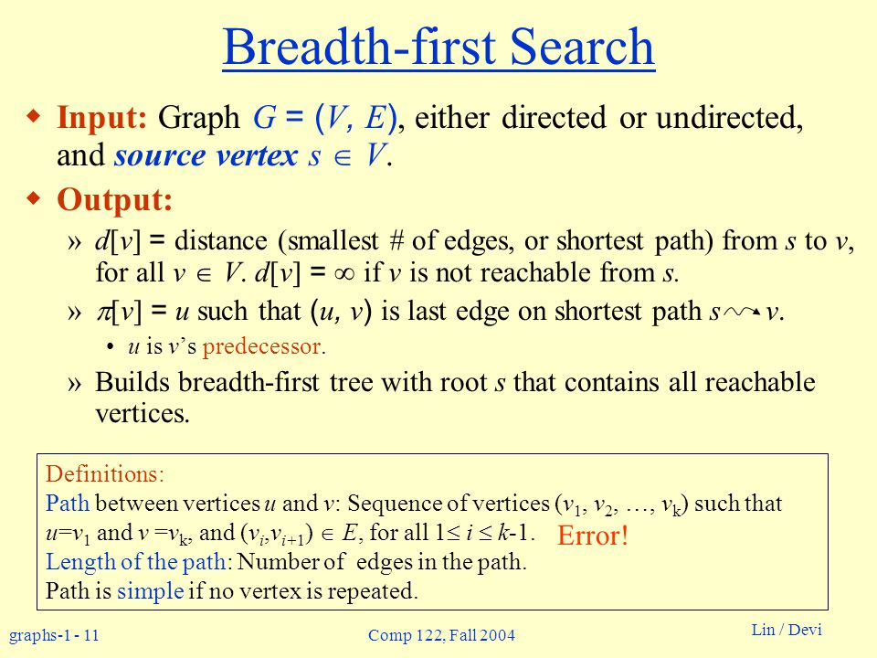 graphs-1 - 11 Lin / Devi Comp 122, Fall 2004 Breadth-first Search  Input: Graph G = ( V, E ), either directed or undirected, and source vertex s  V.