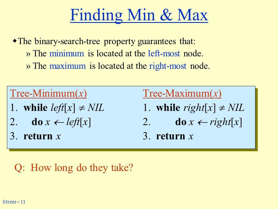 btrees - 11 Finding Min & Max Tree-Minimum(x) Tree-Maximum(x) 1.