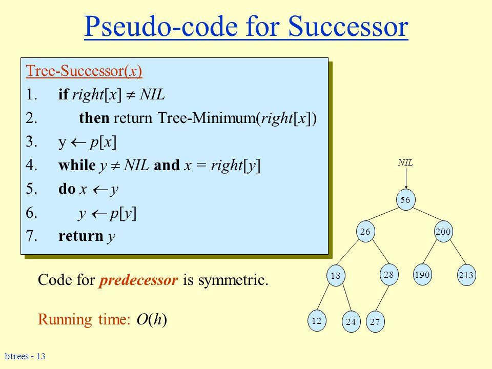 btrees - 13 Pseudo-code for Successor Tree-Successor(x) 1.if right[x]  NIL 2.