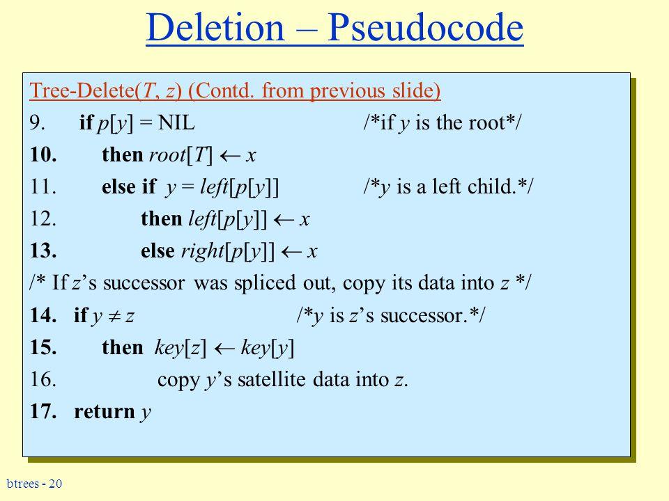 btrees - 20 Deletion – Pseudocode Tree-Delete(T, z) (Contd.