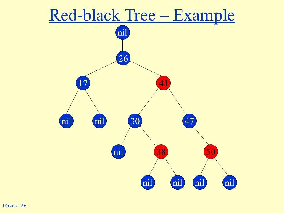 btrees - 26 Red-black Tree – Example 26 17 3047 3850 41 nil