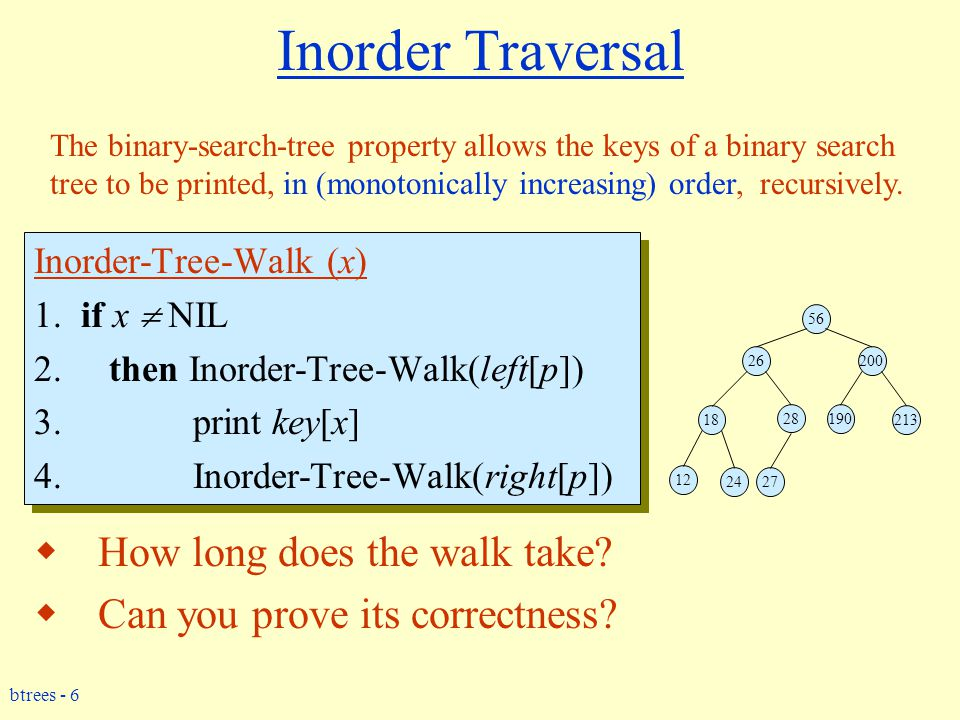 btrees - 7 Correctness of Inorder-Walk  Must prove that it prints all elements, in order, and that it terminates.