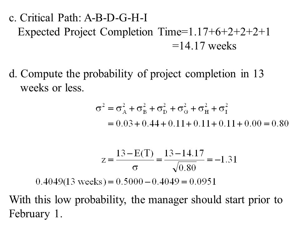 c. Critical Path: A-B-D-G-H-I Expected Project Completion Time=1.17+6+2+2+2+1 =14.17 weeks d. Compute the probability of project completion in 13 week