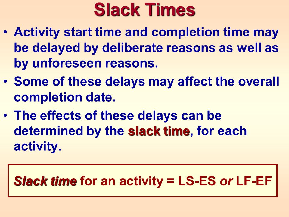 Activity start time and completion time may be delayed by deliberate reasons as well as by unforeseen reasons.