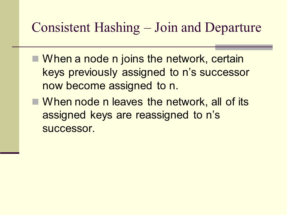 Consistent Hashing – Node Join 0 4 26 5 1 3 7 keys 1 2 7 5