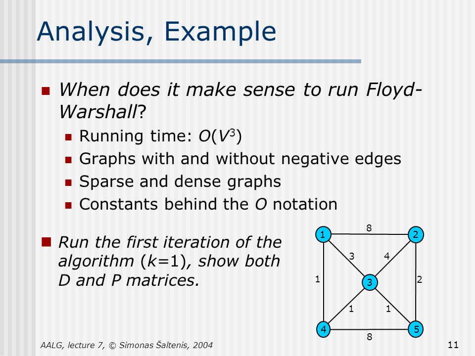 AALG, lecture 7, © Simonas Šaltenis, 2004 11 Analysis, Example When does it make sense to run Floyd- Warshall.