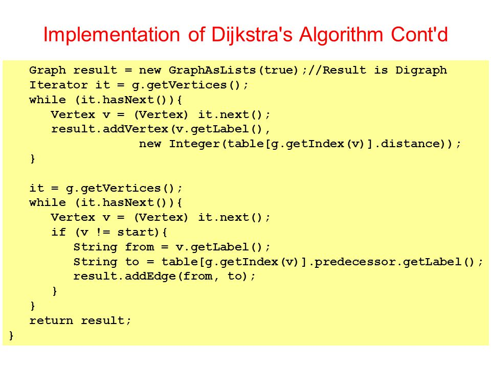Implementation of Dijkstra s Algorithm Cont d Graph result = new GraphAsLists(true);//Result is Digraph Iterator it = g.getVertices(); while (it.hasNext()){ Vertex v = (Vertex) it.next(); result.addVertex(v.getLabel(), new Integer(table[g.getIndex(v)].distance)); } it = g.getVertices(); while (it.hasNext()){ Vertex v = (Vertex) it.next(); if (v != start){ String from = v.getLabel(); String to = table[g.getIndex(v)].predecessor.getLabel(); result.addEdge(from, to); } return result; }