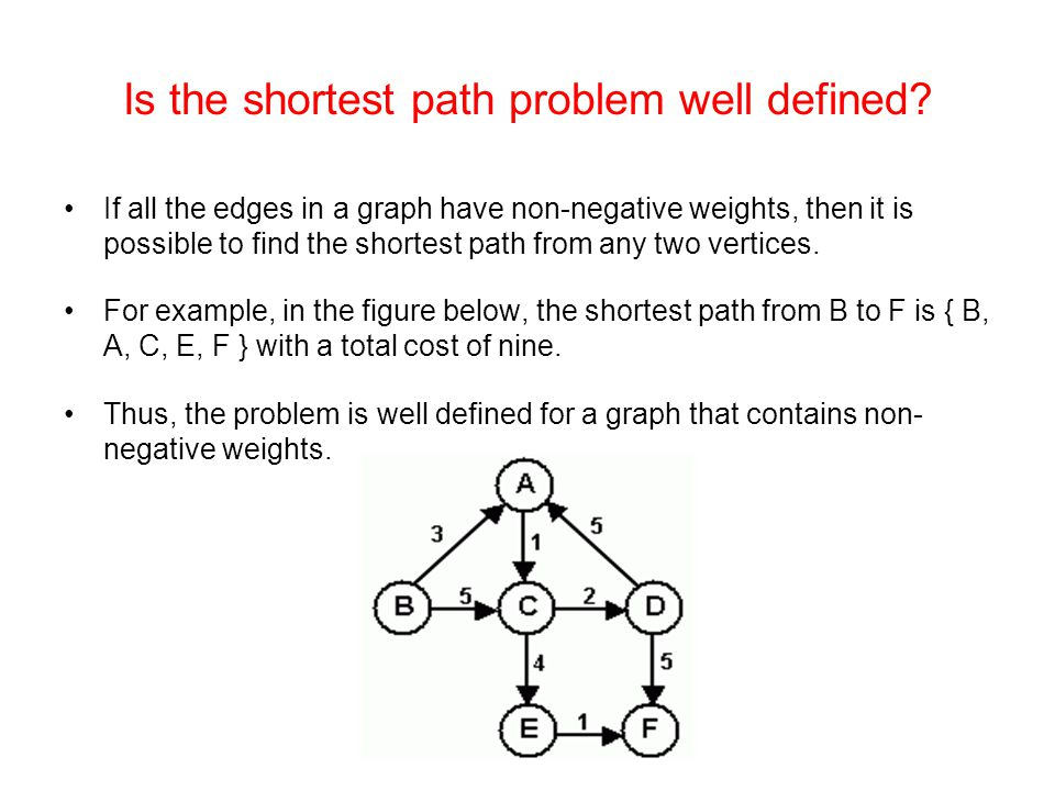 Is the shortest path problem well defined? If all the edges in a graph have non-negative weights, then it is possible to find the shortest path from a