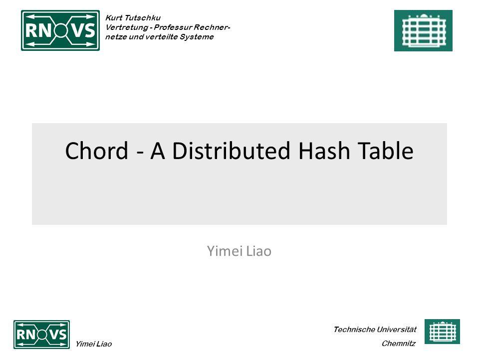 Technische Universität Yimei Liao Chemnitz Kurt Tutschku Vertretung - Professur Rechner- netze und verteilte Systeme Chord - A Distributed Hash Table Yimei Liao