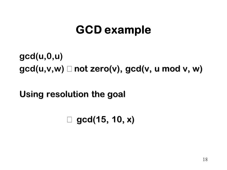 18 GCD example gcd(u,0,u)  not zero(v), gcd(v, u mod v, w) gcd(u,v,w)  not zero(v), gcd(v, u mod v, w) Using resolution the goal  gcd(15, 10, x)  gcd(15, 10, x)