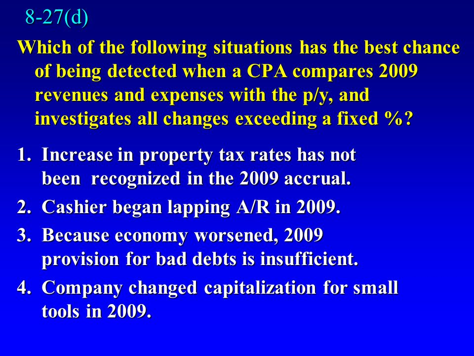 8-27(d) Which of the following situations has the best chance of being detected when a CPA compares 2009 revenues and expenses with the p/y, and investigates all changes exceeding a fixed %.