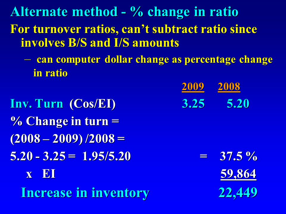 Alternate method - % change in ratio For turnover ratios, can't subtract ratio since involves B/S and I/S amounts – can computer dollar change as percentage change in ratio 2009 2008 Inv.
