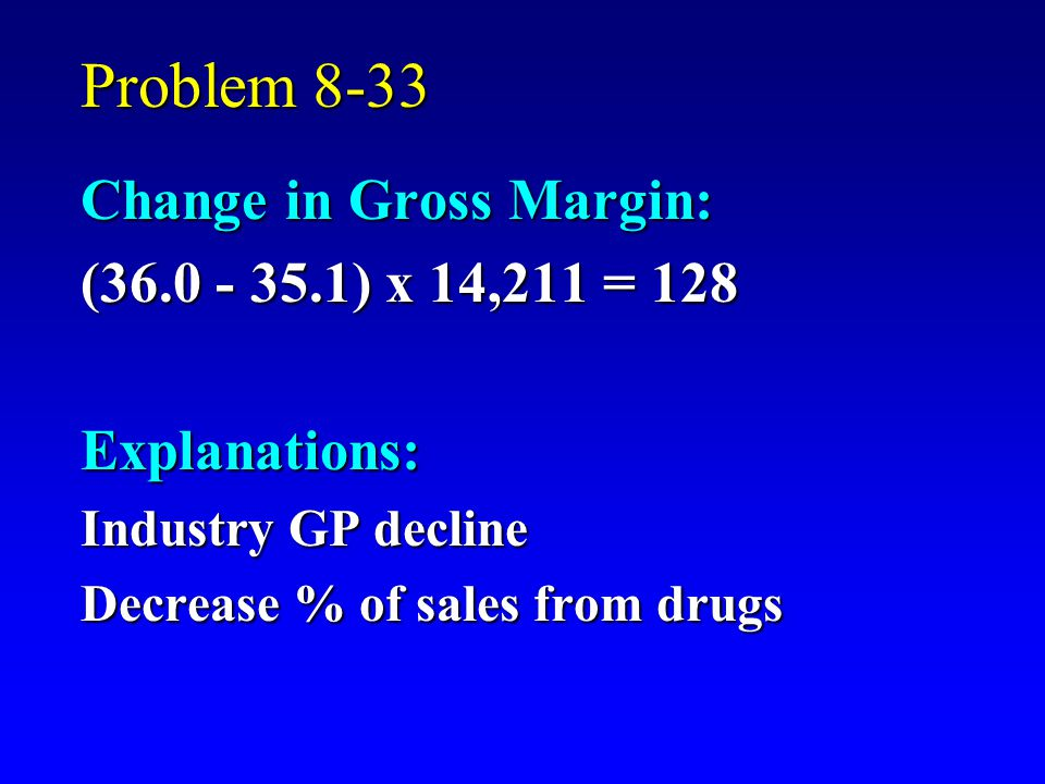 Problem 8-33 Change in Gross Margin: (36.0 - 35.1) x 14,211 = 128 Explanations: Industry GP decline Decrease % of sales from drugs