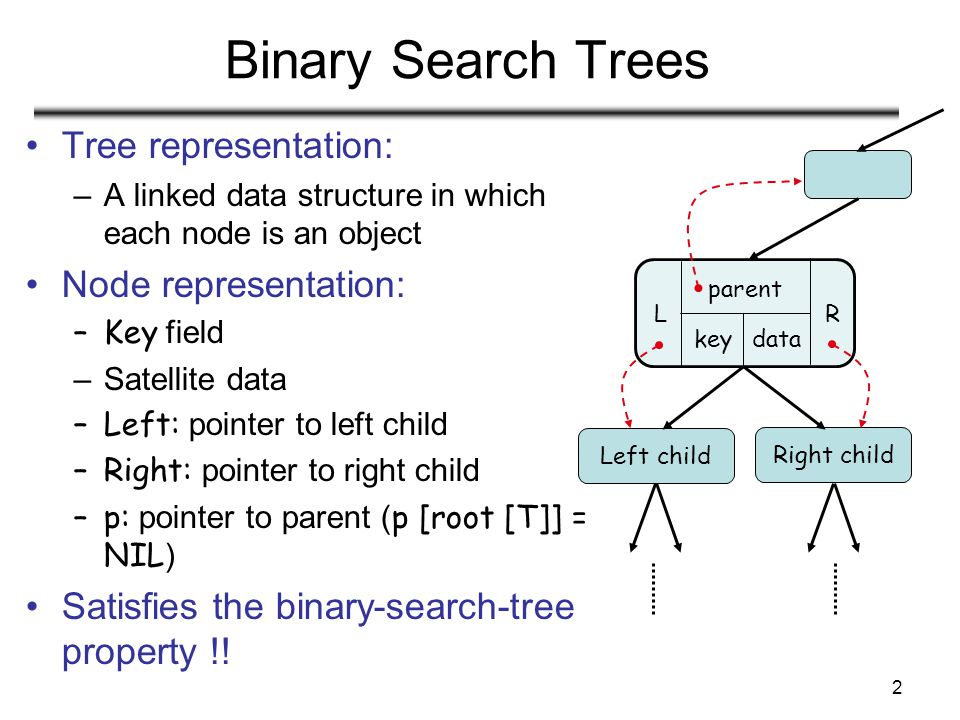 2 Binary Search Trees Tree representation: –A linked data structure in which each node is an object Node representation: –Key field –Satellite data –L