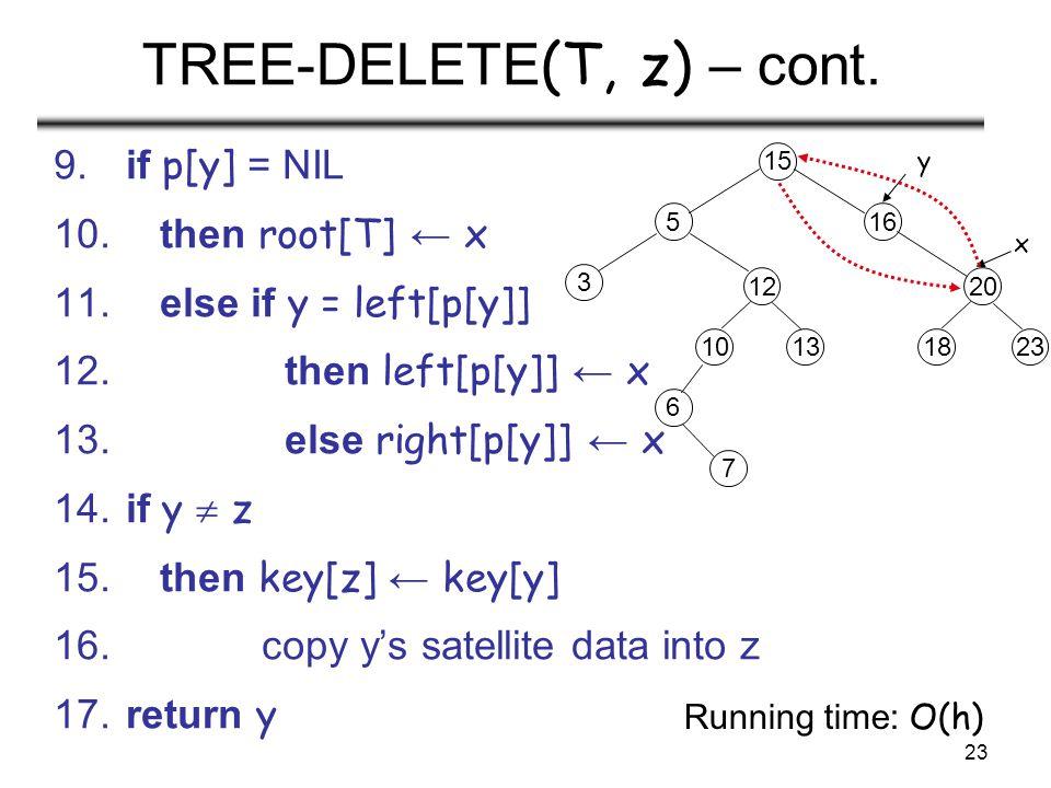 23 TREE-DELETE (T, z) – cont. 9. if p[y] = NIL 10. then root[T] ← x 11. else if y = left[p[y]] 12. then left[p[y]] ← x 13. else right[p[y]] ← x 14. if
