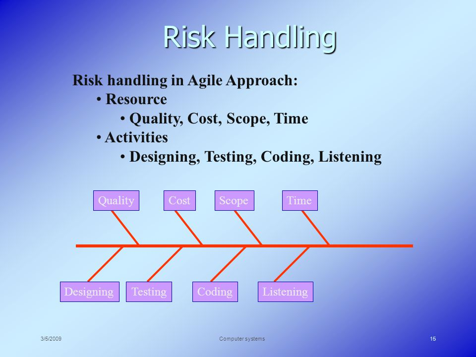 3/5/2009Computer systems15 Risk Handling Risk handling in Agile Approach: Resource Quality, Cost, Scope, Time Activities Designing, Testing, Coding, Listening QualityCostScopeTime DesigningListeningCodingTesting