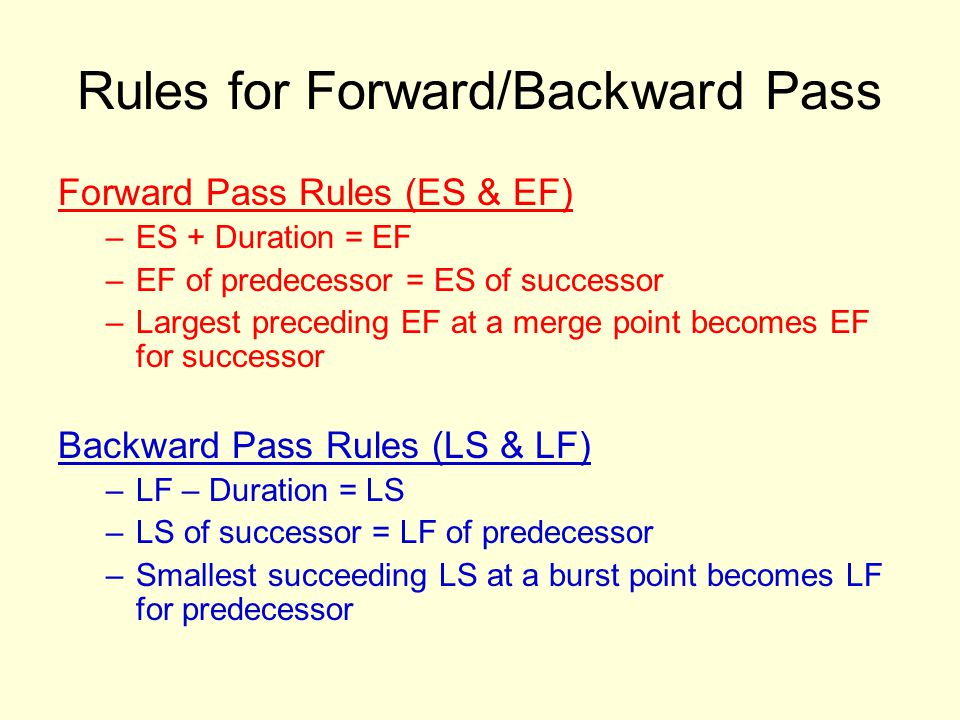 Rules for Forward/Backward Pass Forward Pass Rules (ES & EF) –ES + Duration = EF –EF of predecessor = ES of successor –Largest preceding EF at a merge point becomes EF for successor Backward Pass Rules (LS & LF) –LF – Duration = LS –LS of successor = LF of predecessor –Smallest succeeding LS at a burst point becomes LF for predecessor