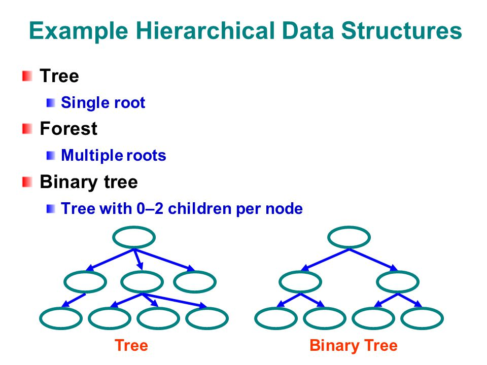 Example Hierarchical Data Structures Tree Single root Forest Multiple roots Binary tree Tree with 0–2 children per node TreeBinary Tree
