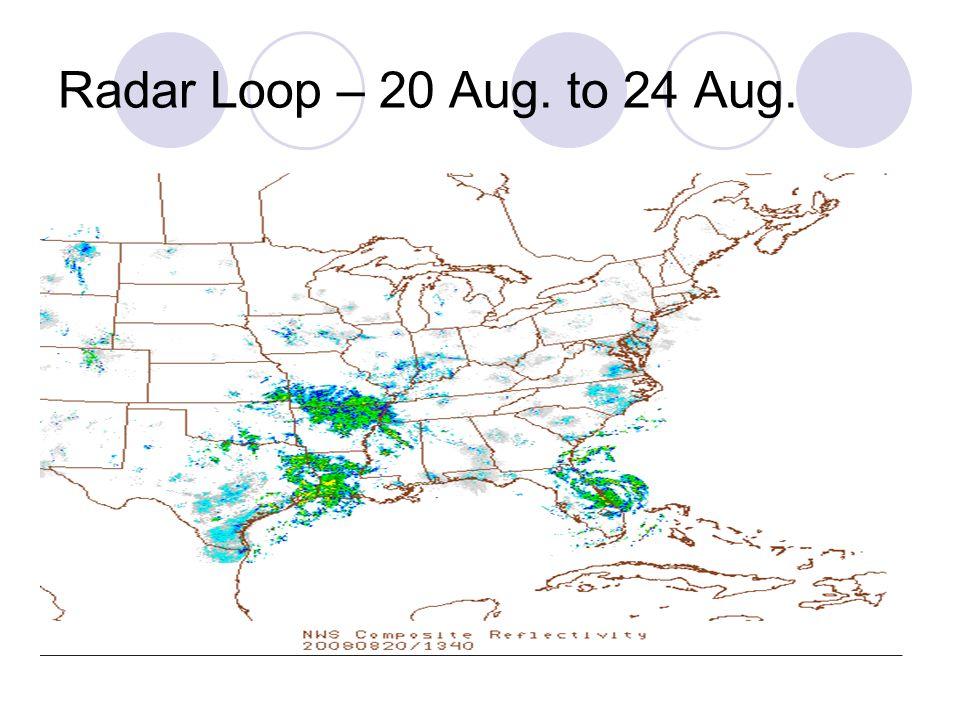 Radar Loop – 20 Aug. to 24 Aug.