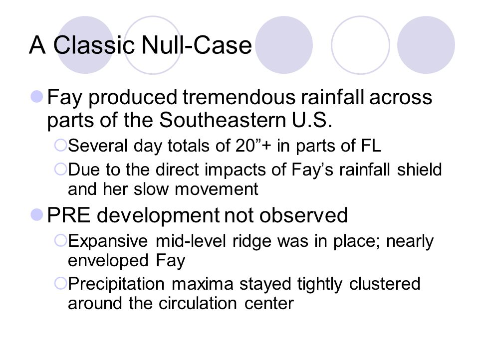 A Classic Null-Case Fay produced tremendous rainfall across parts of the Southeastern U.S.