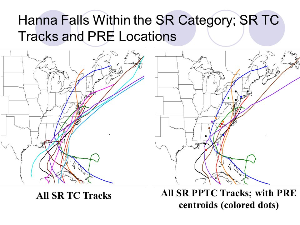 Hanna Falls Within the SR Category; SR TC Tracks and PRE Locations All SR TC Tracks All SR PPTC Tracks; with PRE centroids (colored dots)