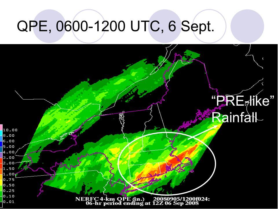 QPE, 0600-1200 UTC, 6 Sept. PRE-like Rainfall