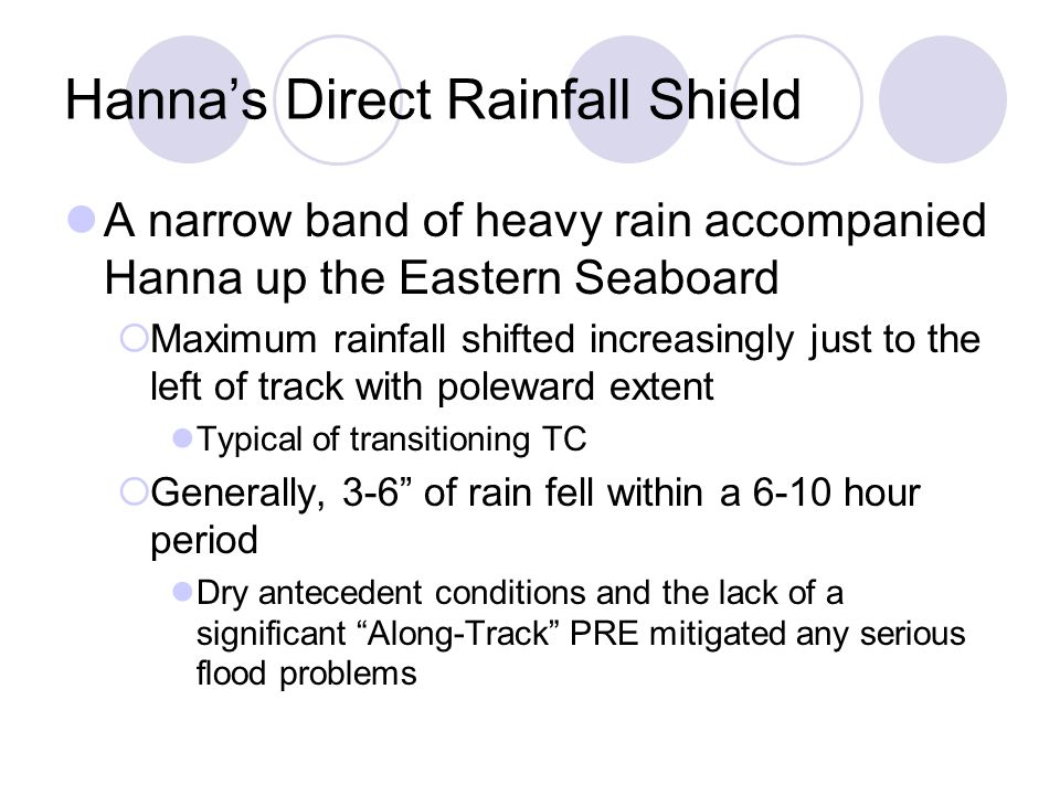 Hanna's Direct Rainfall Shield A narrow band of heavy rain accompanied Hanna up the Eastern Seaboard  Maximum rainfall shifted increasingly just to the left of track with poleward extent Typical of transitioning TC  Generally, 3-6 of rain fell within a 6-10 hour period Dry antecedent conditions and the lack of a significant Along-Track PRE mitigated any serious flood problems