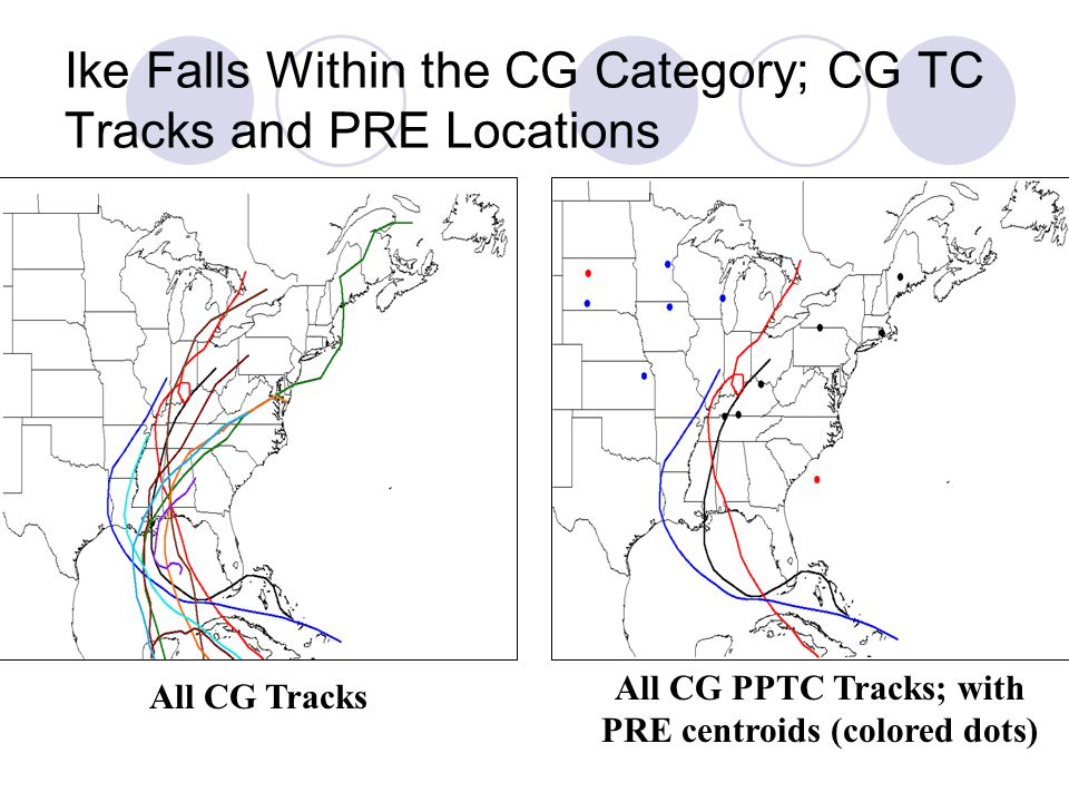 Ike Falls Within the CG Category; CG TC Tracks and PRE Locations All CG Tracks All CG PPTC Tracks; with PRE centroids (colored dots)
