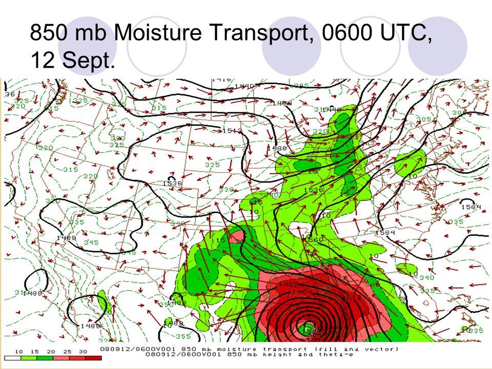 850 mb Moisture Transport, 0600 UTC, 12 Sept.