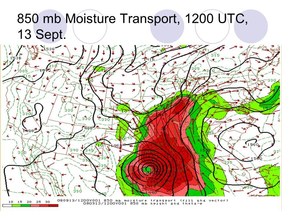 850 mb Moisture Transport, 1200 UTC, 13 Sept.