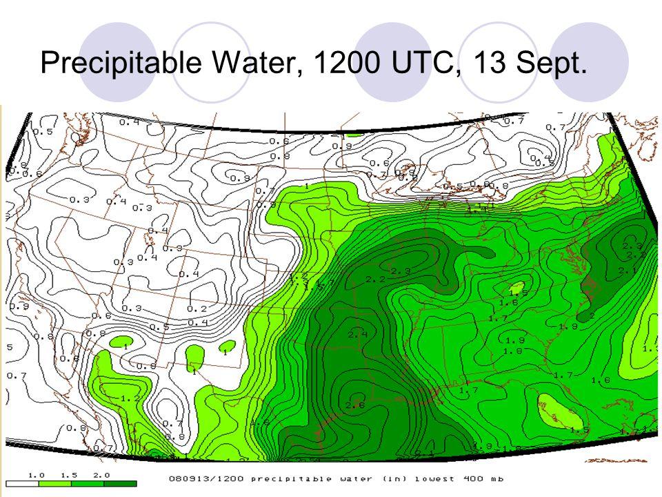 Precipitable Water, 1200 UTC, 13 Sept.