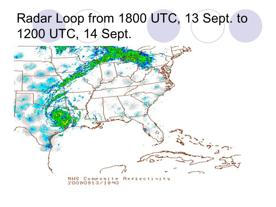 Radar Loop from 1800 UTC, 13 Sept. to 1200 UTC, 14 Sept.