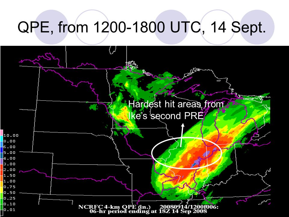 QPE, from 1200-1800 UTC, 14 Sept. Hardest hit areas from Ike's second PRE