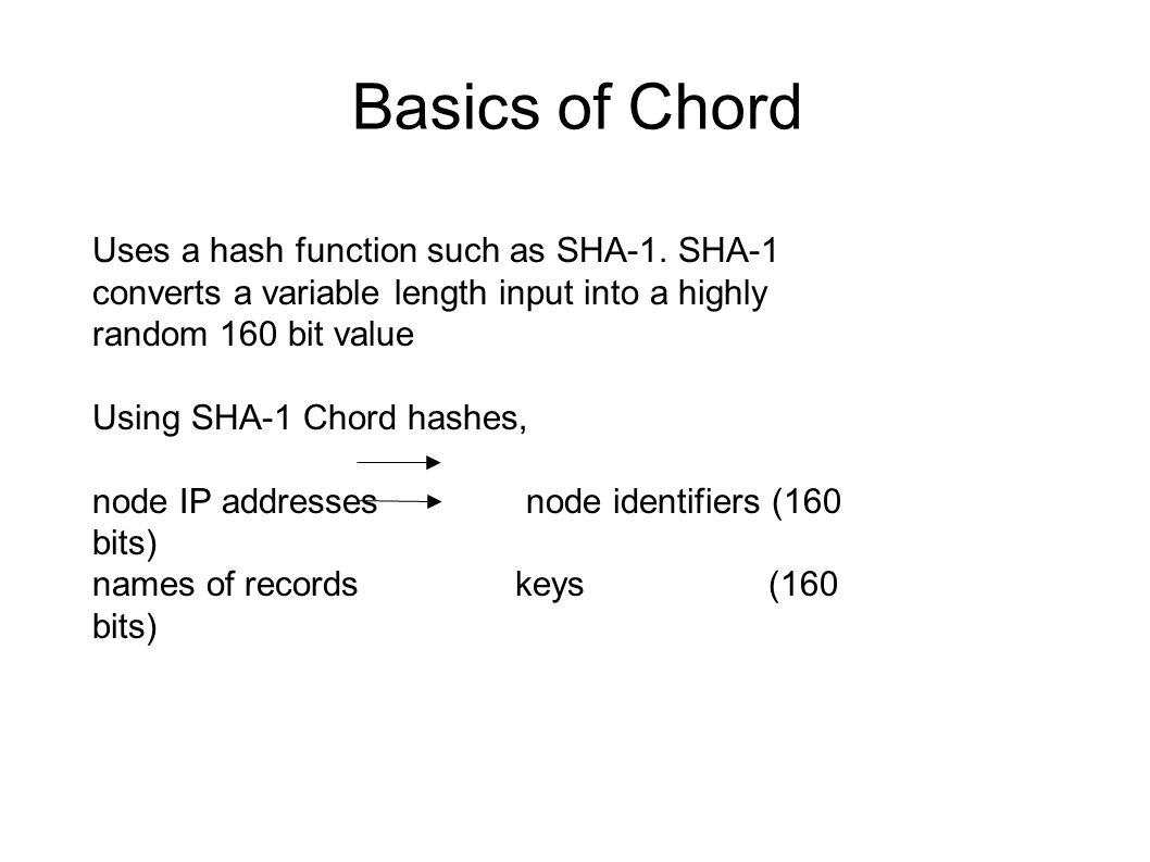 Basics of Chord Uses a hash function such as SHA-1.