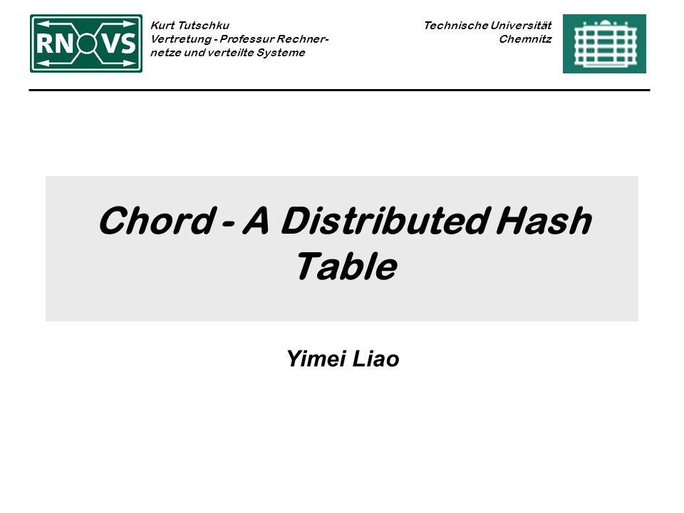 Technische Universität Chemnitz Kurt Tutschku Vertretung - Professur Rechner- netze und verteilte Systeme Chord - A Distributed Hash Table Yimei Liao