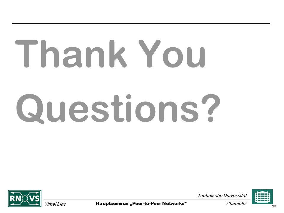 "Hauptseminar ""Peer-to-Peer Networks Technische Universität Yimei Liao Chemnitz 23 Thank You Questions"