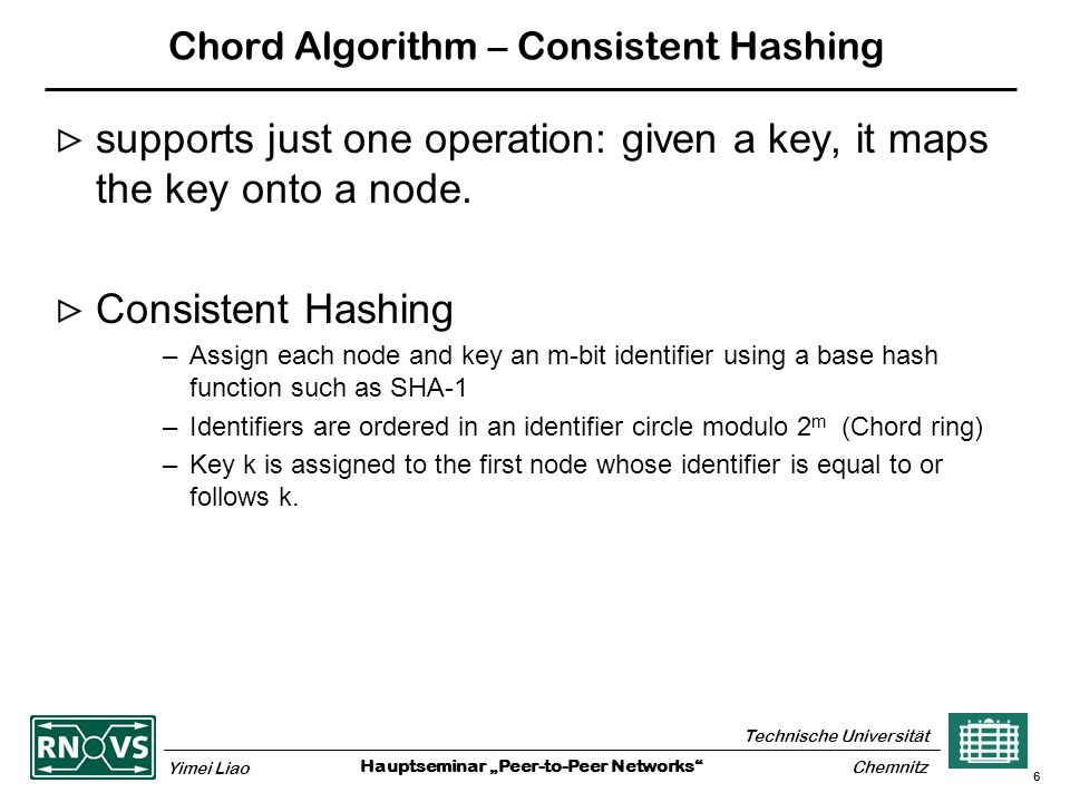 """Hauptseminar """"Peer-to-Peer Networks Technische Universität Yimei Liao Chemnitz 6 Chord Algorithm – Consistent Hashing  supports just one operation: given a key, it maps the key onto a node."""