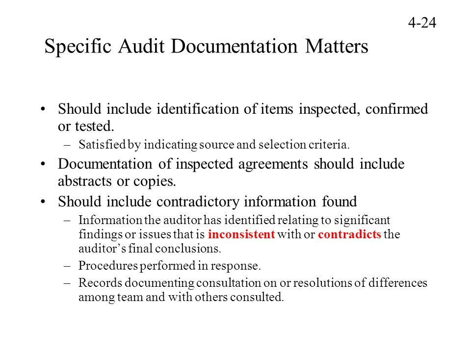Specific Audit Documentation Matters Should include identification of items inspected, confirmed or tested. –Satisfied by indicating source and select