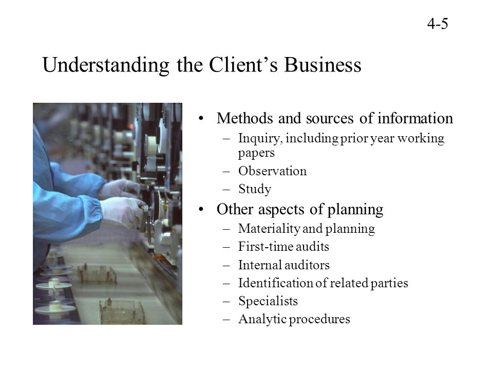 Understanding the Client's Business Methods and sources of information –Inquiry, including prior year working papers –Observation –Study Other aspects