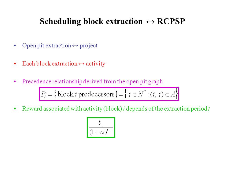 Open pit extraction ↔ project Each block extraction ↔ activity Precedence relationship derived from the open pit graph Reward associated with activity