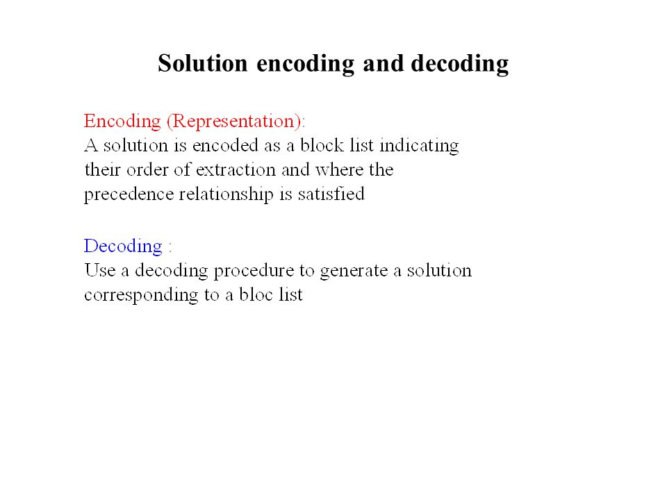 Solution encoding and decoding