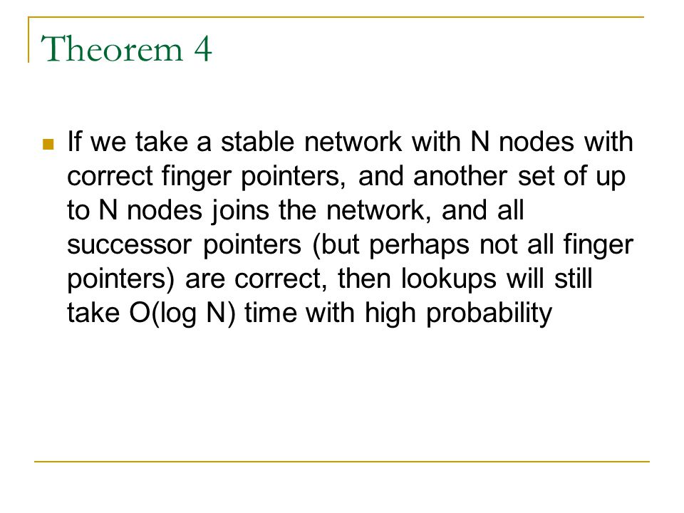 Theorem 4 If we take a stable network with N nodes with correct finger pointers, and another set of up to N nodes joins the network, and all successor pointers (but perhaps not all finger pointers) are correct, then lookups will still take O(log N) time with high probability