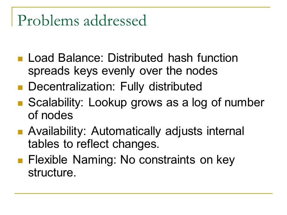 Problems addressed Load Balance: Distributed hash function spreads keys evenly over the nodes Decentralization: Fully distributed Scalability: Lookup grows as a log of number of nodes Availability: Automatically adjusts internal tables to reflect changes.