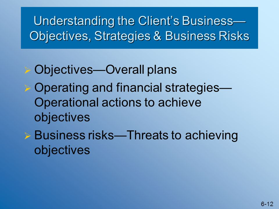 6-12 Understanding the Client's Business— Objectives, Strategies & Business Risks  Objectives—Overall plans  Operating and financial strategies— Ope