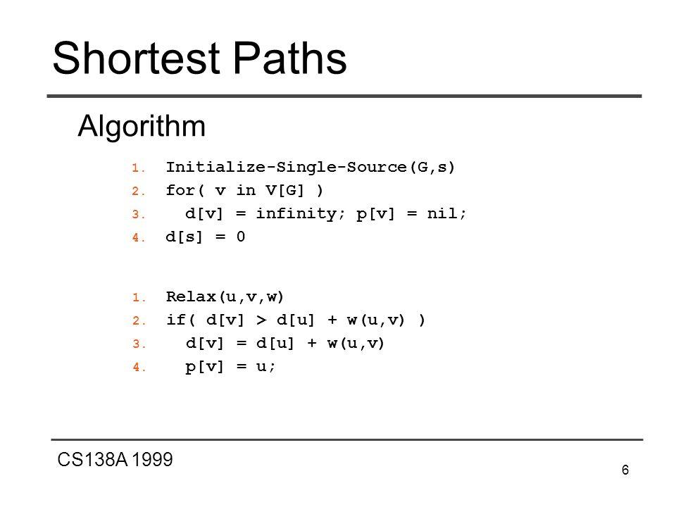 CS138A 1999 6 Shortest Paths Algorithm 1. Initialize-Single-Source(G,s) 2. for( v in V[G] ) 3. d[v] = infinity; p[v] = nil; 4. d[s] = 0 1. Relax(u,v,w